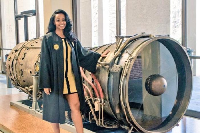 Aerospace engineer Tiffany Davis obtains a bachelor's degree in aerospace engineering and is currently working on a master's degree at Georgia Tech.
