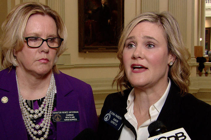 Senator Renee Unterman (R-Buford) and Senator Elena Parent (D-Atlanta) speak to reporters after a series of floor speeches in the senate decrying female representation on committees.