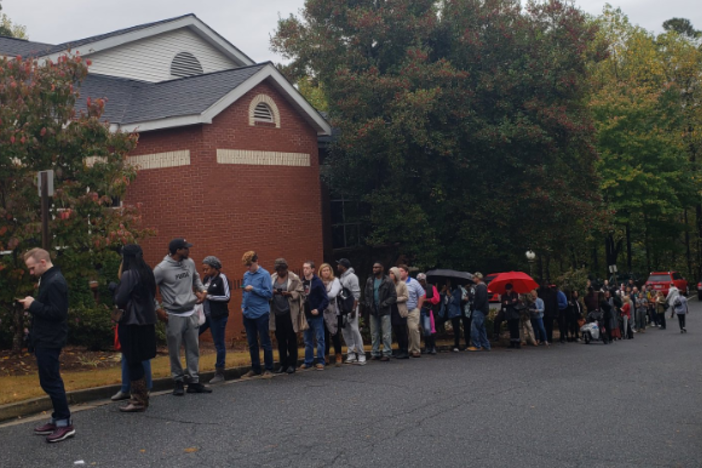Voters at the Vinings Public Library waited over 2 hours Tuesday morning to cast their ballot.