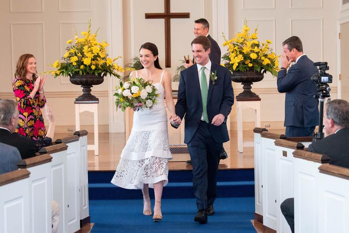 Family and friends helped Chase and Ellen Brown pull together their wedding in less than 24 hours, securing a ring, a church, flowers, a cake, music and even personalized napkins for their new, expedited ceremony.