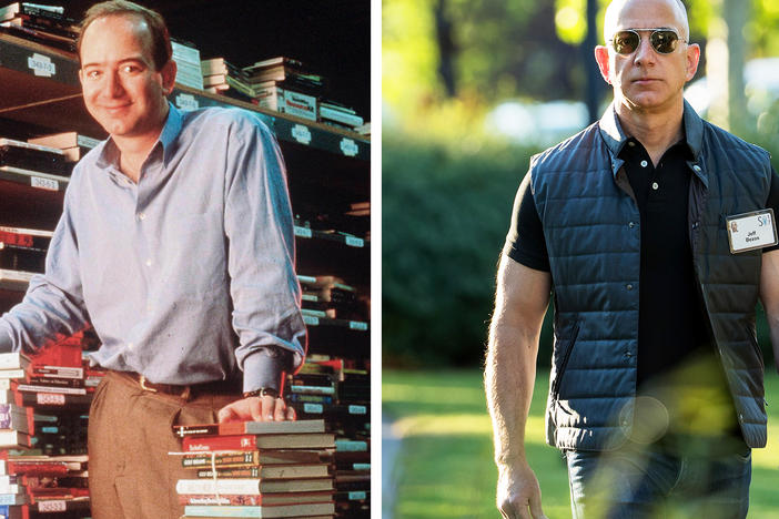 Amazon founder and CEO Jeff Bezos in 1997 (left) and in 2017. He will appear before Congress for the first time this week a much-transformed leader of a much-transformed company.