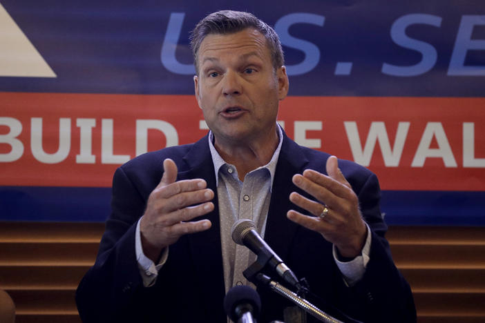 Former Kansas Secretary of State Kris Kobach addresses the crowd as he announces his candidacy for the Republican nomination for the U.S. Senate on July 8, 2019, in Leavenworth, Kan.