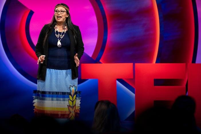 Kelsey Leonard speaks from the TED stage.