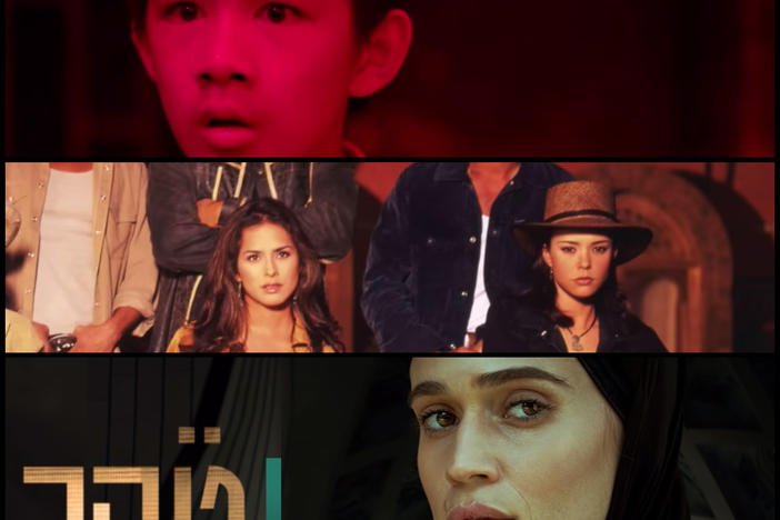 Top to bottom: screenshots from trailers for shows being binge-watched around the world: <em>The Bad Kids </em>in China, <em>Pasión de Gavilanes </em>in Colombia, and <em>Tehran</em> in Israel.