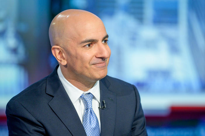 "Minneapolis Federal Reserve Bank President Neel Kashkari visits ""Maria Bartiromo's Wall Street"" at Fox Business Network Studios on October 11, 2019. Kashkari is calling for a return to mandated lockdowns in every state for up to six weeks in an effort to save both lives and the economy in response to COVID-19."