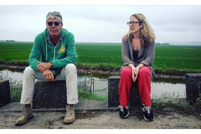 "Laurie Woolever, pictured here with Anthony Bourdain, was his assistant for about a decade, and co-authored his 2016 cookbook ""Appetites."" She joined ""On Second Thought"" to share stories of the author, chef, TV host and world traveler."