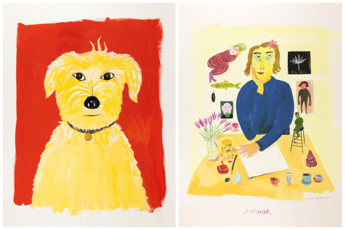 "(Left) Maira Kalman (American, born Israel, 1949), Illustration for What Pete Ate From A - Z (Really!) (G.P. Putnam's Sons, 2001) (Right) Maira Kalman (American, born Israel, 1949), ""When I was seven and sitting in a tree in Henry Hudson Park,"" 1993"