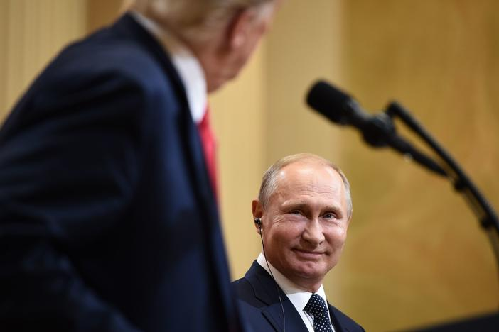 President Trump and Russian President Vladimir Putin attend a joint press conference after a July 2018 meeting in Helsinki.