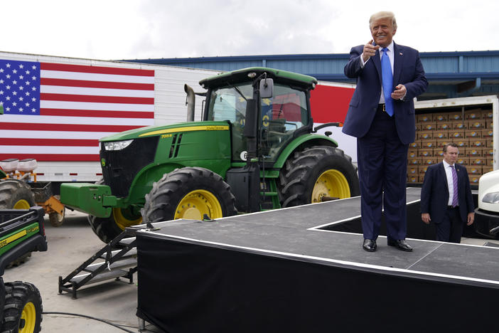 President Trump delivers remarks last week on the Farmers to Families Food Box program at Flavor 1st Growers and Packers in Mills River, N.C.