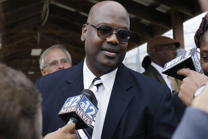 After six trials and 23 years behind bars, charges are being dropped against Curtis Flowers (pictured here in Dec. 2019) over a 1996 quadruple killing in Mississippi. The U.S. Supreme Court struck down a conviction last summer, citing among other things, the deliberate elimination of Black jurors from Flowers' trials.