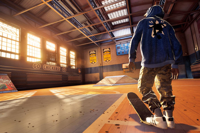 The avatar of professional skateboarder Kareem Campbell, in a still from <em>Tony Hawk's Pro Skater 1+2</em>.