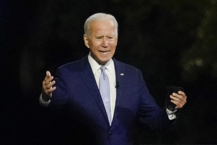 Democratic presidential nominee Joe Biden participates in a town hall Thursday evening in Moosic, Pa. Biden leads by 9 points against President Trump, who continues to face an uphill reelection battle.