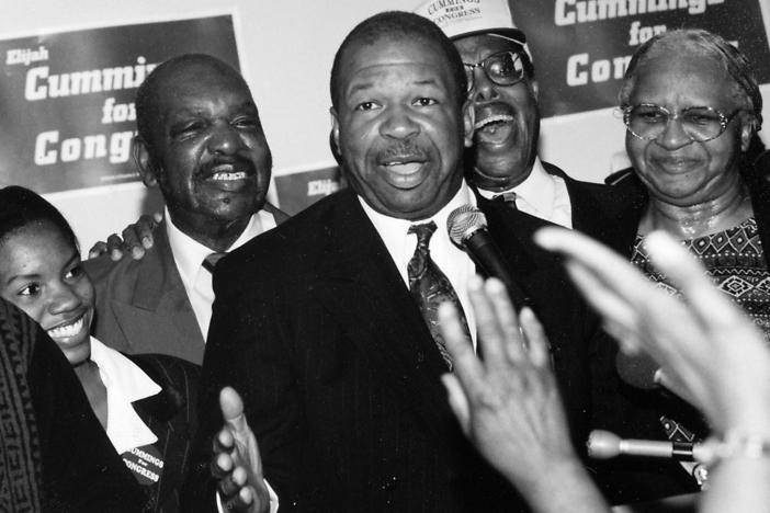 Politician and Maryland congressional representative Elijah Cummings at his campaign headquarters, 1988.