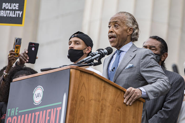 Rev. Al Sharpton speaks at the 2020 March on Washington, officially known as the Commitment March: Get Your Knee Off Our Necks, at the Lincoln Memorial on Aug. 28 in Washington.