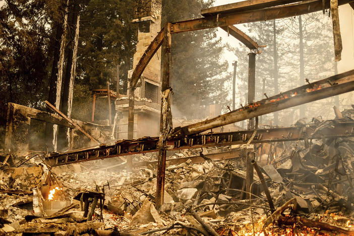Charred framing remains, Monday, Sept. 28, at the Restaurant at Meadowood, which burned in the Glass Fire, in St. Helena, Calif.