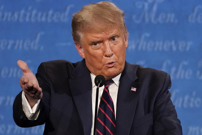 President Trump gestures while speaking during the first presidential debate on Tuesday, at Case Western University and Cleveland Clinic, in Cleveland.