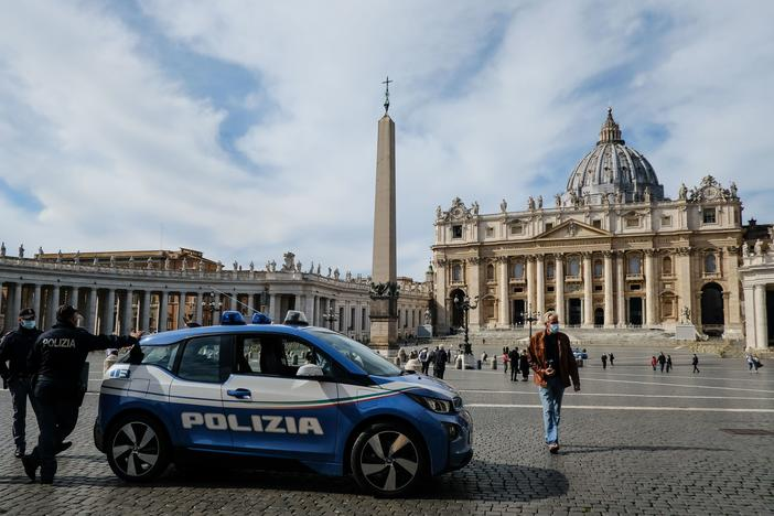 Italian police are stationed in St. Peter's Square at the Vatican, on Tuesday.