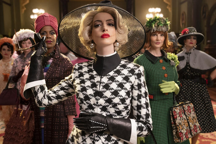 Anne Hathaway is the Grand High Witch in the film adaptation of Roald Dahl's <em>The Witches.</em>