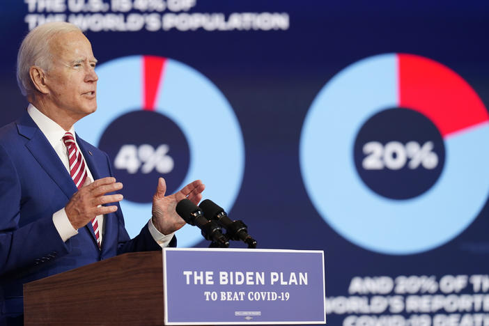 Former Vice President Joe Biden focuses on the coronavirus in an address Friday in Wilmington, Del.