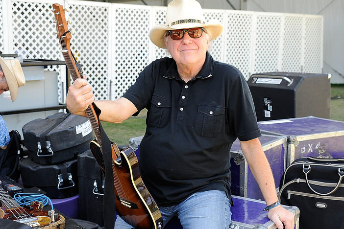 "Country legend Jerry Jeff Walker poses backstage at a country music festival in 2009. Walker, best known for his hit ""Mr. Bojangles,"" died Friday after complications from throat cancer. He was 78."