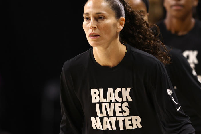 "Sue Bird of the Seattle Storm, wears ""Black Lives Matter"" warm-up shirts before a game in July."