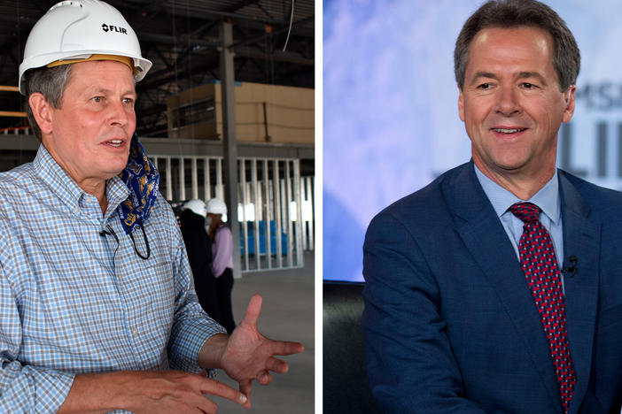 Left: Incumbent Republican Sen. Steve Daines speaks at a manufacturing facility under construction in Bozeman, Mont., in September. Right: Montana Senate candidate Gov. Steve Bullock in 2019.