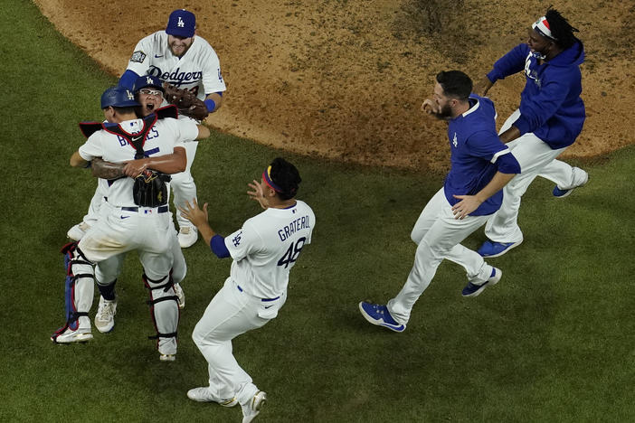 Los Angeles Dodgers celebrate after defeating the Tampa Bay Rays 3-1 to win the 2020 World Series in Game 6 in Arlington, Texas.