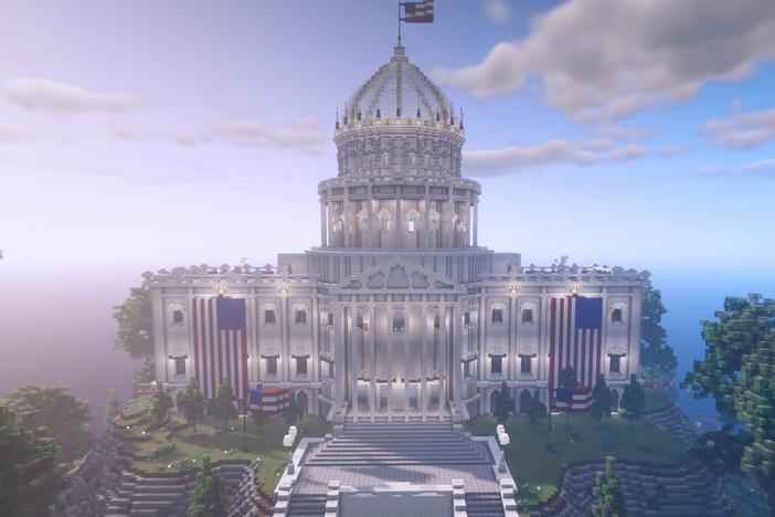 Rock The Vote's voting house in Minecraft allows players to vote on a variety of real-world issues.