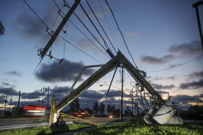 Downed power lines and other damage from Hurricane Zeta are seen in Chalmette, La., on Thursday. Seven hurricanes have hit the Gulf Coast in 2020, bringing extensive destruction to the area.