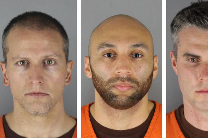 From left, Derek Chauvin, J. Alexander Kueng, Thomas Lane and Tou Thao. A Minnesota judge decided Thursday to try all four men together in the case of the killing of George Floyd.
