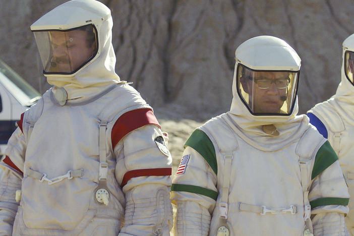 "Houston, We Have A Problem: (L to R) ""Cap"" (John C. Reilly), ""Skip"" (Fred Armisen) and ""Rook"" (Tim Heidecker) kick moonrocks in <em>Moonbase 8</em>."