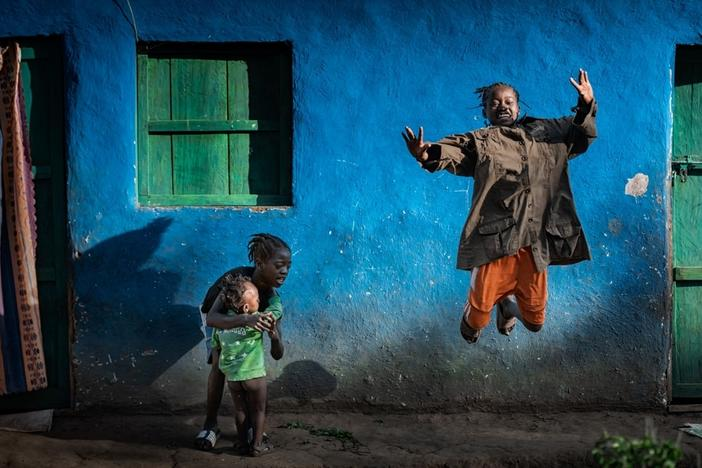 Children play on the street in a village outside of Addis Ababa, Ethiopia.