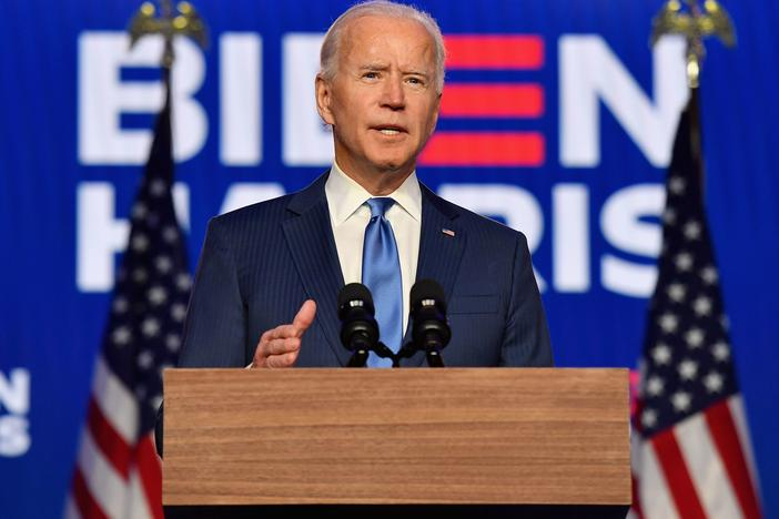 Democratic presidential nominee Joe Biden delivers remarks at the Chase Center in Wilmington, Delaware, on November 6, 2020.