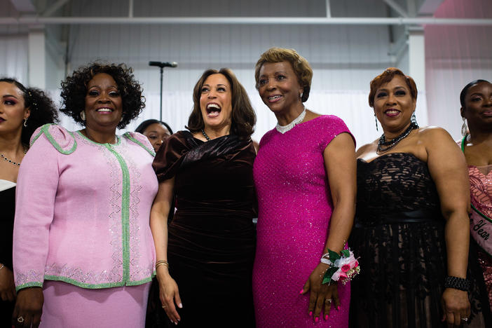 Sen. Kamala Harris stands with attendees and participates in the Alpha Kappa Alpha Sorority Inc. hymn at their Annual Pink Ice Gala in Columbia, South Carolina on Friday, Jan. 25, 2019.