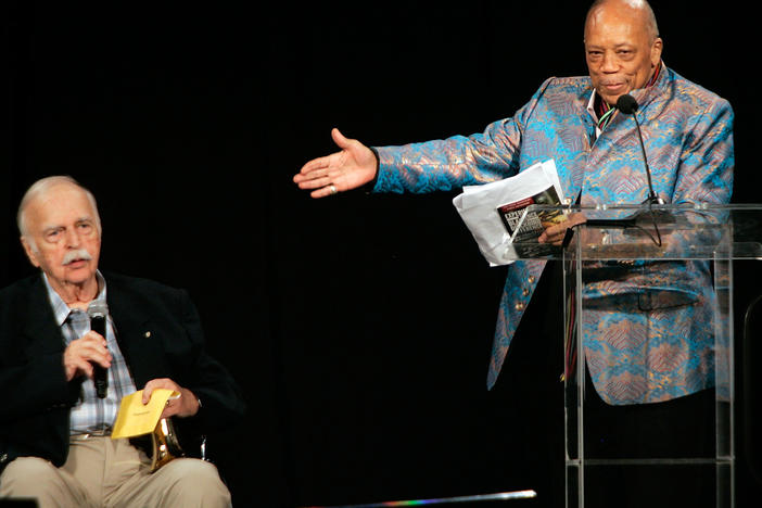 Bruce Swedien and Quincy Jones onstage together, speaking at the Pensado Awards for audio engineering in Culver City, Calif. in 2015.