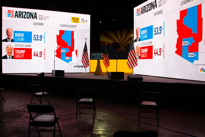 Arizona presidential election results from MSNBC are displayed during Democratic Senate candidate Mark Kelly's Nov. 3 election-night event in Tucson, Ariz. Like many other news organizations, NBC held off on calling Arizona for Joe Biden, while The Associated Press called it in the early hours of Nov. 4.