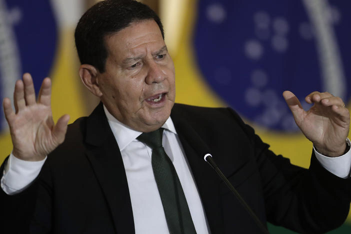 Brazil's Vice President Hamilton Mourao proclaimed racism doesn't exist in Brazil on the day the nation observes Black Consciousness Day. The comments come a day after a Black Brazilian died after an encounter with security guards and captured on cell phone video. He is seen above at a press conference earlier this month in Brasilia, Brazil.