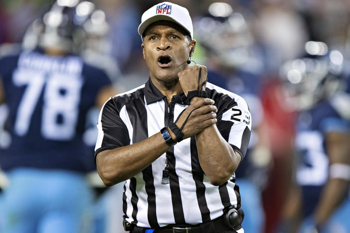 Referee Jerome Boger makes a holding call penalty during a game between the Tennessee Titans and the New York Jets in Nashville, Tenn., on Dec. 2018. Boger lead an all-Black officiating crew during Monday Night Football on Nov. 23.