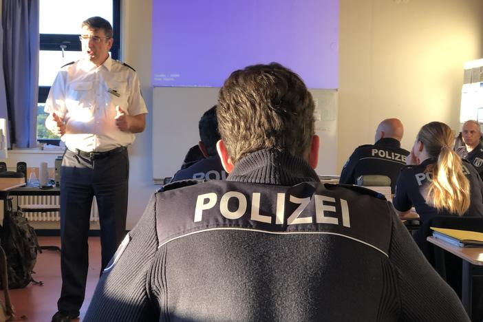 At the Berlin Police Academy, Ewald Igelmund teaches cadets courses on Germany's rule of law. Cadets must take 2 1/2 years of courses before they're allowed to become police officers.