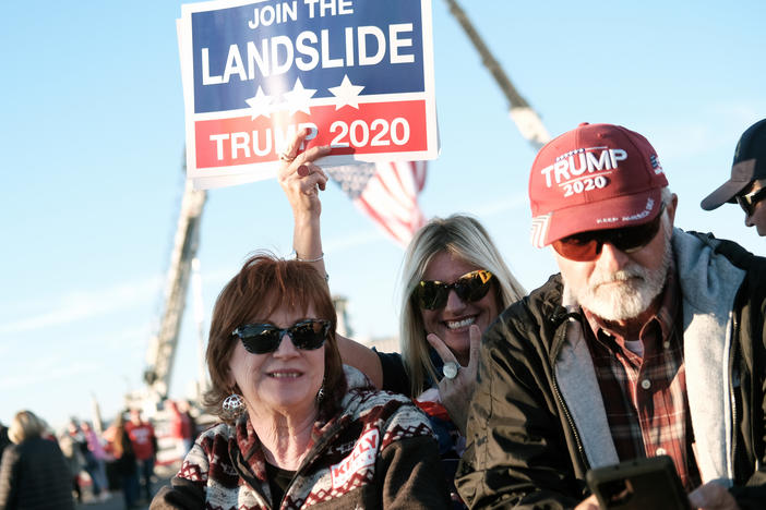 Supporters arrive for a President Trump rally in Valdosta, Ga., last weekend. Fewer than half of Trump backers said they would get the COVID-19 vaccine in a new poll.