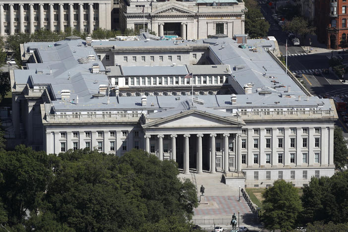 The U.S. Treasury Department, shown here in 2019, has been hacked along with the U.S. Commerce Department, according to reports. Russia is suspected, but denies involvement. The U.S. government has acknowledged a breach and says it is investigating to make a full assessment.