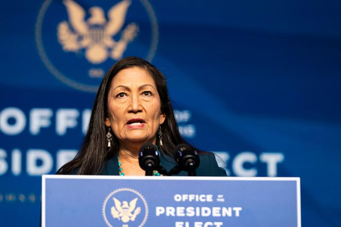 Rep. Deb Haaland, D-N.M., delivers remarks after being introduced as President-elect Joe Biden's nominee to be the next secretary of interior.