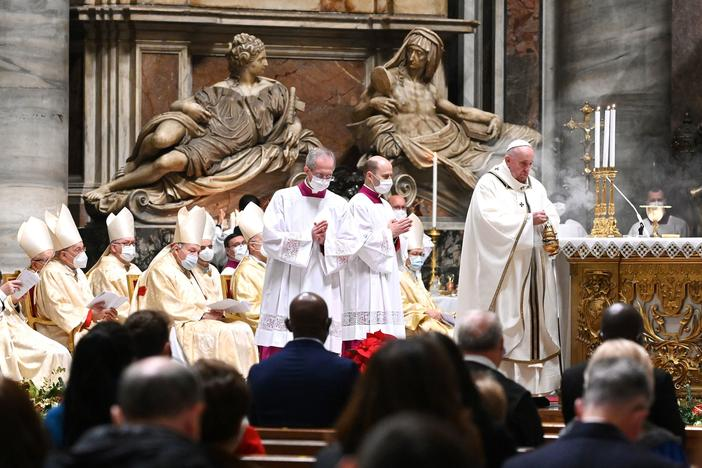 Pope Francis celebrates Christmas Eve Mass on Thursday at St. Peter's Basilica in the Vatican as Italy went back into lockdown measures due to the COVID-19 pandemic.