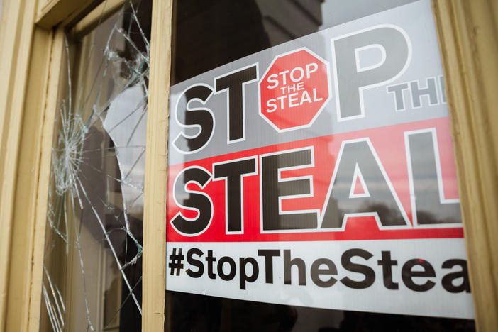 A Stop The Steal is posted inside of the Capitol Building after a pro-Trump mob broke into the U.S. Capitol on Jan. 6. Trump supporters had gathered in the nation's capital to protest the ratification of President-elect Joe Biden's Electoral College victory over President Trump in the 2020 election.