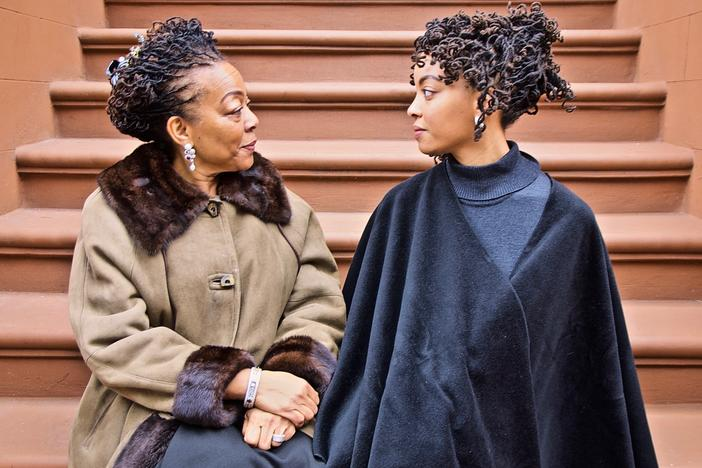 <em>The Stoop Stare Down (Nia & Afiya, Two Generations in Harlem)</em>, Jan. 26, 2020, 3:30 p.m., 42 degrees
