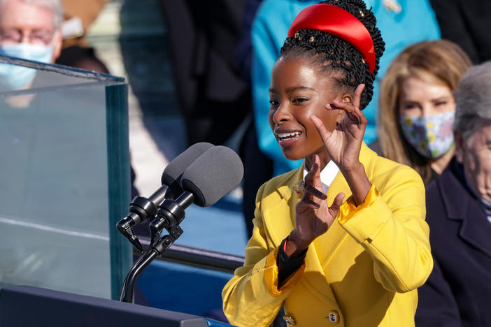 Poet Amanda Gorman speaks at the inauguration of U.S. President Biden on the West Front of the U.S. Capitol on Wednesday.
