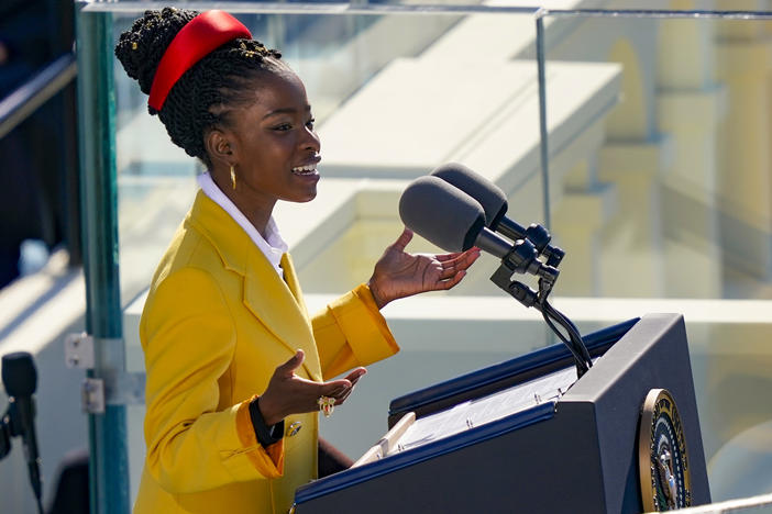 Youth Poet Laureate Amanda Gorman speaks at the inauguration of U.S. President Joe Biden.