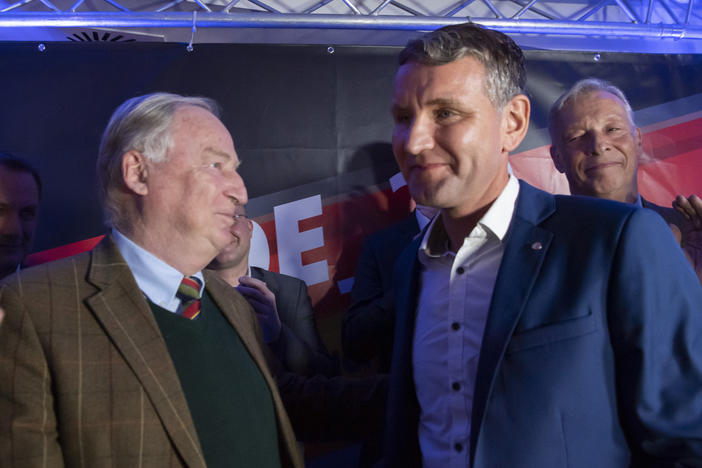 Alternative for Germany leaders Björn Höcke (right) and Alexander Gauland celebrate their party's election results in Erfurt, Germany, in 2019, when voters in Thuringia elected a new state parliament. The AfD now has 88 members in Germany's federal parliament, more than 12% representation.
