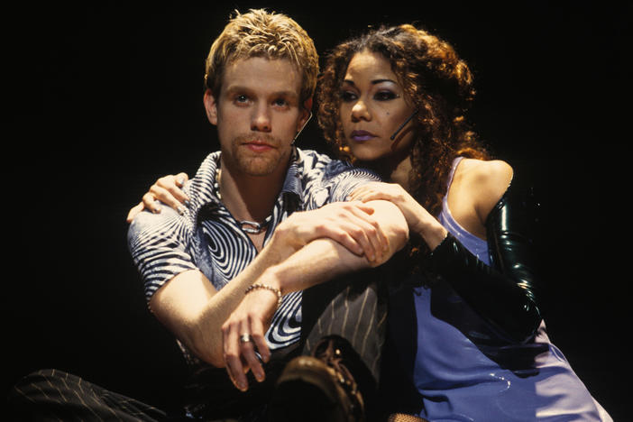 "Daphne Rubin-Vega played Mimi in <em>Rent. ""</em>It was a lot of fun to actually be able to practically apply my research of partying ..."" she says. ""I knew these people. I knew this world."" She's pictured above with Adam Pascal in New York Theatre Workshop's 1996 production of <em>Rent</em>."