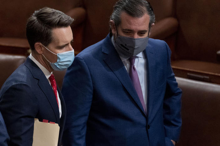 Seven Senate Democrats filed an ethics complaint Thursday against Republican Sens. Josh Hawley (Mo.) and Ted Cruz (Texas) over their Jan. 6 objections to the November presidential elections.